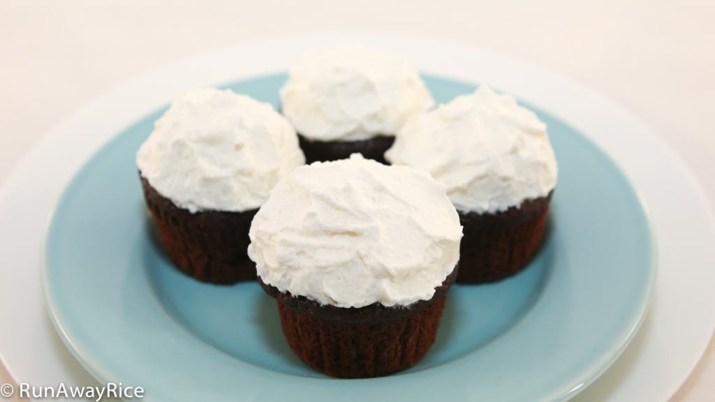 Whipped Cream Frosting on Chocolate Cupcakes