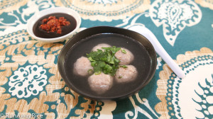 Quick Meal or Appetizer - Beef Meatballs in a Light Broth Served with a Hoisin Chili Paste Dipping Sauce