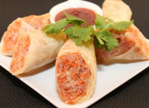 Pork and Shrimp Egg Rolls served with a Sweet and Sour Dipping Sauce | recipe from runaway rice.com