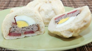 Steamed Pork Buns with Savory Ground Pork, Chinese Sausage and Eggs--a great quick meal or snack! | recipe from runawayrice.com