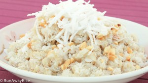 Fluffy Sweet Rice Flakes Combined with Coconut Milk, Grated and Shredded Coconut (Com Dep Tron Dua)   recipe from runawayrice.com