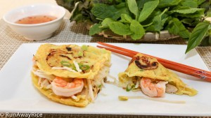Delicious Savory Crepes Served with Fresh Herbs and Fish Sauce Dipping Sauce   recipe from runawayrice.com