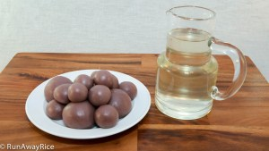 2 Essential Ingredients for making Snowskin Mooncakes: Taro Root Filling Balls and Simple Syrup