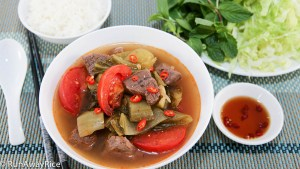 Enjoy this soup the Viet way with shredded lettuce, fresh mint and a side of fish sauce and chilies...Oh Yum!!