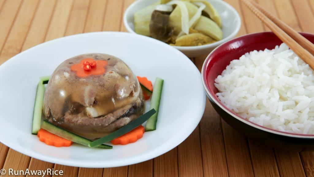 The contrast of the cold Jellied Pork with the steaming hot rice is to die for!
