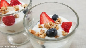 Yogurt with fresh berries and granola, the perfect breakfast!