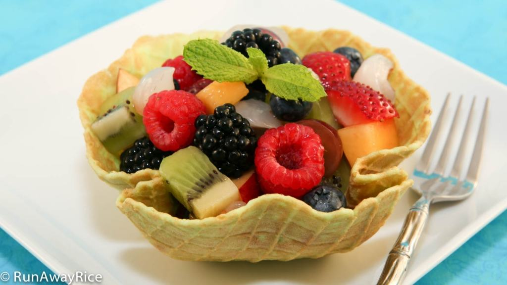 Pandan Waffle Bowl with Fresh Fruit