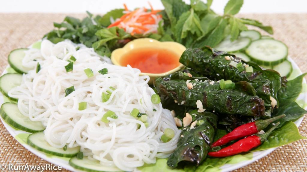 Beef Wrapped with Betel Leaves is served with rice vermicelli, carrot and radish pickles, fish sauce dipping sauce and more fresh greens. Yum!