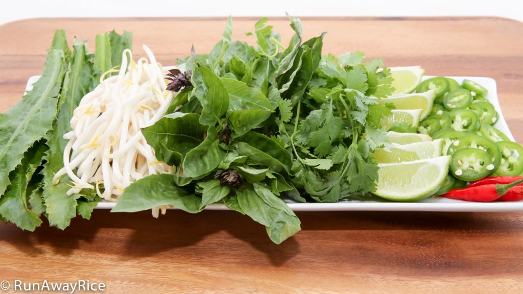 Vietnamese Chicken Noodle Soup/Pho Ga would not be completed without a refreshing plate of herbs, lime wedges and chilies!