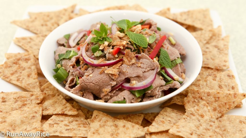 Rare Beef in Lime Juice and Fresh Herbs Salad served with Rice Chips, recipe from runawayrice.com