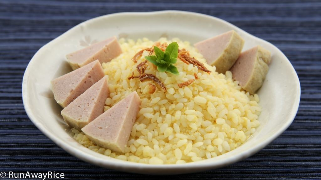 The perfect duo: Sticky Rice coated with Mung Bean and served with Steamed Pork Roll | recipe from runawayrice.com