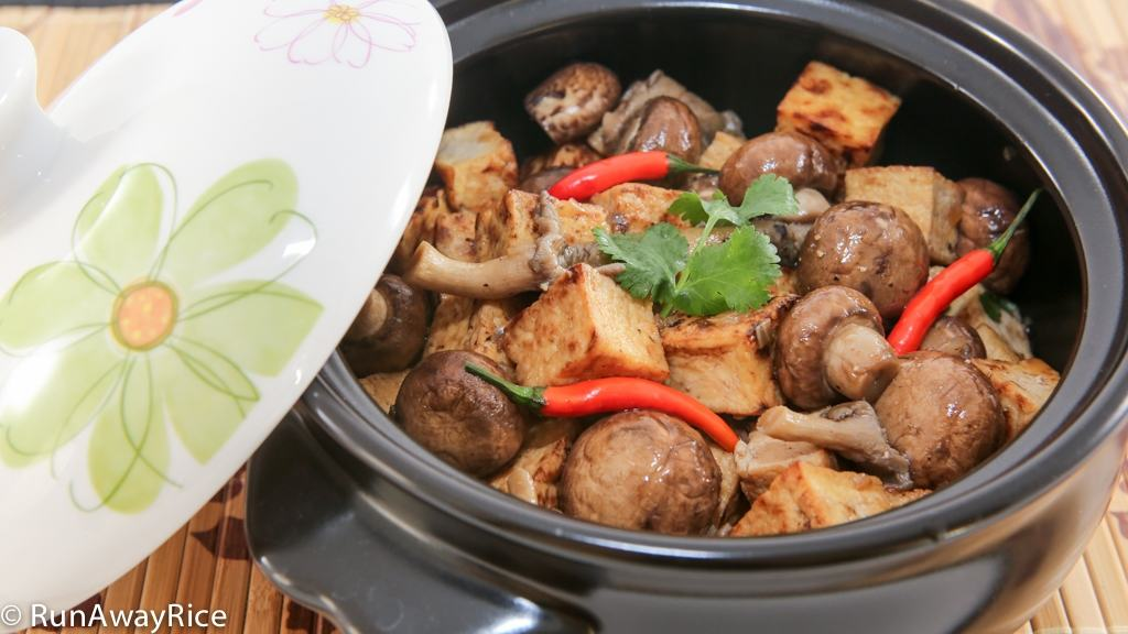 Full of flavor and texture: Braised Tofu and Mushrooms (Dau Hu Kho Nam) | recipe from runwayrice.com