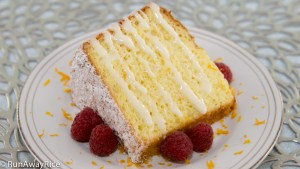 Orange Chiffon Cake with Sweet Glaze and Raspberries | recipe from runawayrice.com