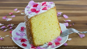 Orange Chiffon Cake with Edible Flower Petals - delicate and deliciously moist cake | recipe from runawayrice.com