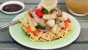Delicious Crispy Noodle with Stir-Fried Beef, Shrimp and Vegetables/Bird's Nest Crispy Noodle   recipe from runawayrice.com