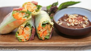 Must-Try Recipe--Savory Fresh Spring Rolls with Chinese Sausage, Jicama, Carrots, Shrimp Egg with a delicious Dipping Sauce (Bo Bia) | recipe from runawayrice.com