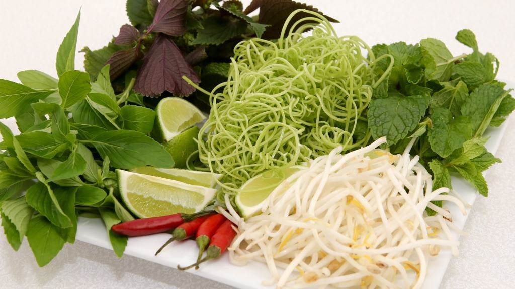Essential Herbs and Veggies to Serve with Crab Noodle Soup (Bun Rieu)