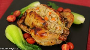 Asian-Style Roasted Cornish Game Hens with Bean Thread Noodle Stuffing - Savory, A tad sweet and so juicy! | recipe from runawayrice.com
