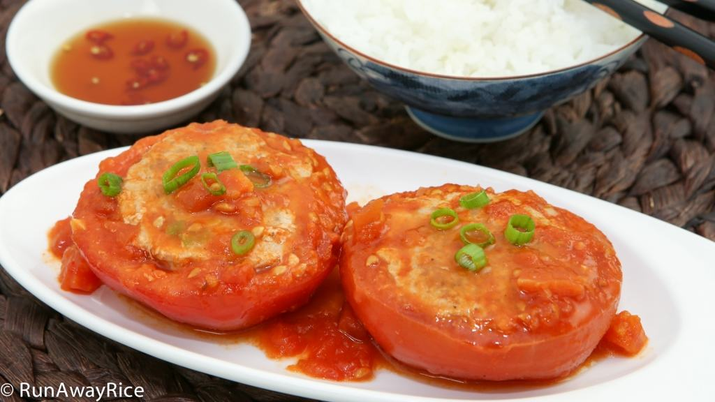 Stuffed Tomatoes (Ca Chua Nhoi Thit) - easy meal and it's all homemade!