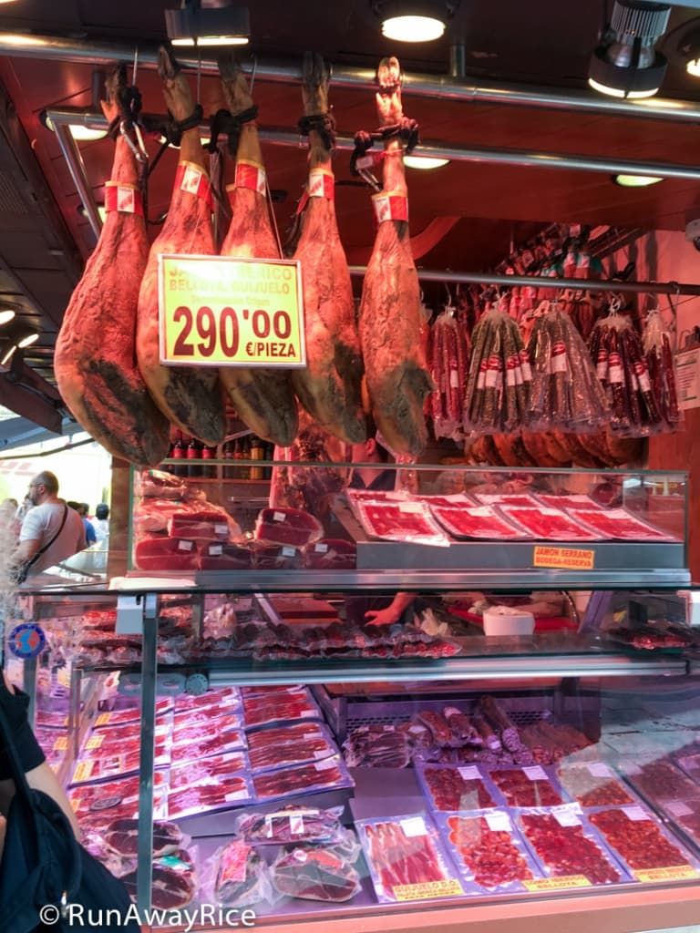 Cured Meats and Ham at La Boqueria Market | runawayrice.com