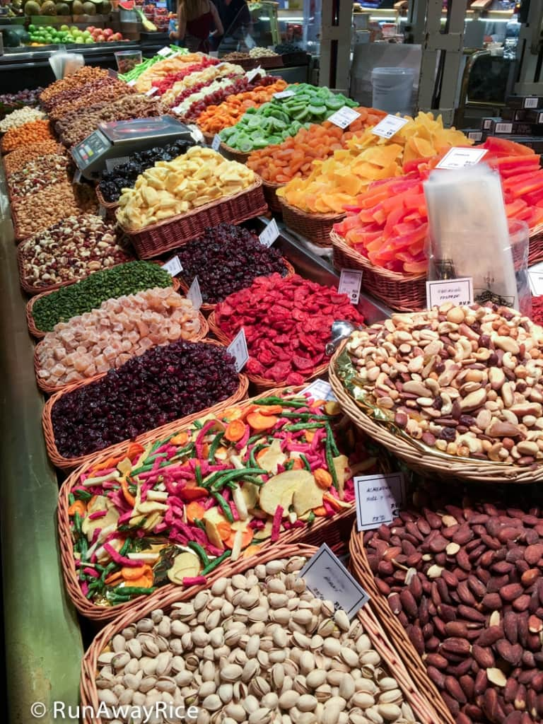 Dried Fruit and Nuts at La Boqueria Market | runawayrice.com