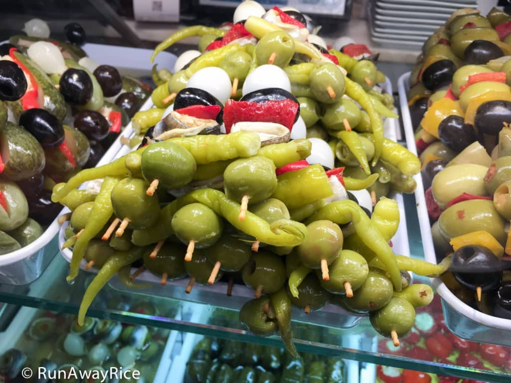 Mercado de San Miguel - Olives Stuffed with Whole Peppers | runawayrice.com
