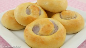 Taro Buns (Banh Mi Ngot Nhan Khoai Mon) - delicious sweet buns with taro root filling | recipe from runawayrice.com