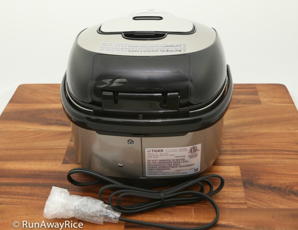 Tiger IH 5.5 Rice Cooker - Showing Back view | runawayrice.com