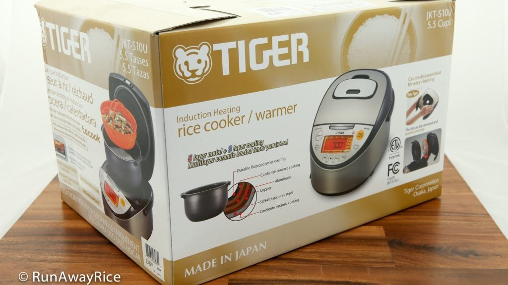 Tiger IH 5.5 Rice Cooker - Box Front and Side | runawayrice.com