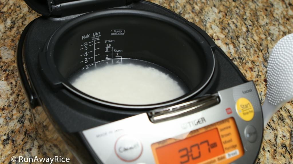 Tiger IH 5.5 Rice Cooker - Cooking the first pot of white rice | runawayrice.com
