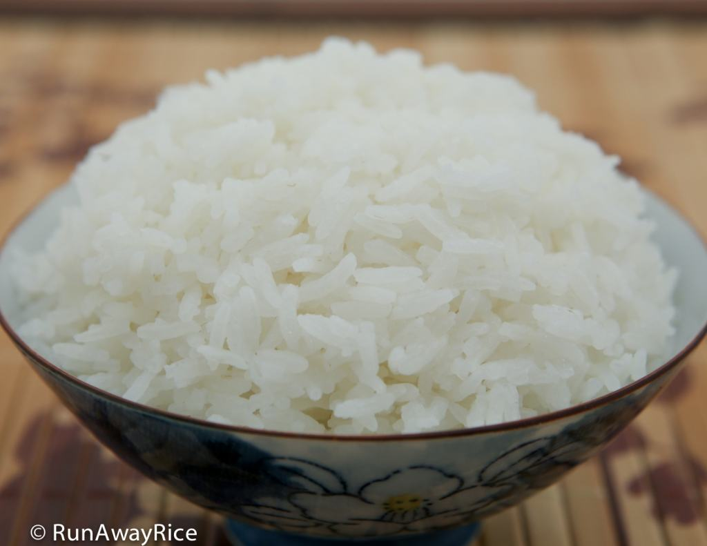 A bowl of hot and fluffy white rice made by the Tiger IH 5.5 Rice Cooker | runawayrice.com