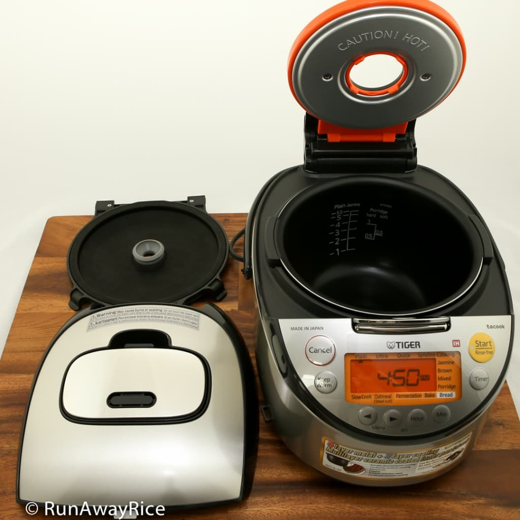 Tiger IH 5.5 Rice Cooker - Showing removable inner and outer lids for easy cleaning! | runawayrice.com