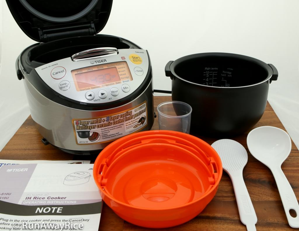Tiger IH 5.5 Rice Cooker - Unboxed and showing all items | runawayrice.com