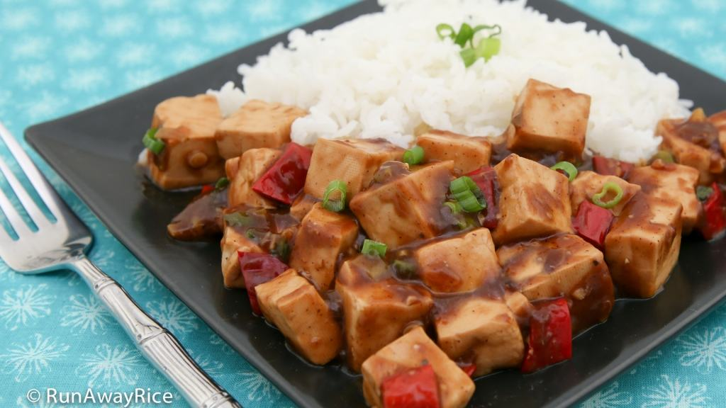 Tofu in Black Bean Sauce (Dau Hu Sot Tuong Den) served with rice, a vegetarian's go-to dish | recipe from runawayrice.com