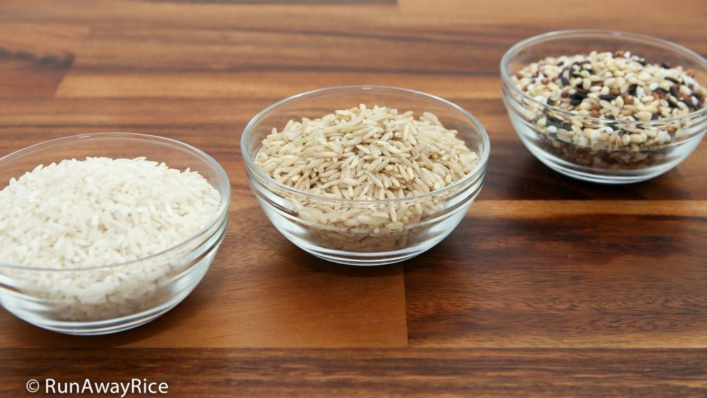 White Rice, Brown Rice and Multi-Grain Rice - use to make delicious Rice Milk | recipe from runawayrice.com