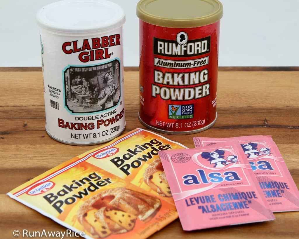 Different Baking Powders: Clabber Girl, Rumford, Dr. Oetker, Alsa - How to Test if Baking Powder is Fresh | runawayrice.com