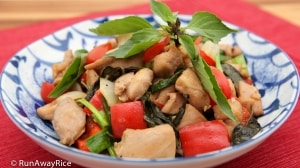 Thai Basil Chicken (Ga Xao La Que) - delicious and easy to make! | recipe from runawayrice.com