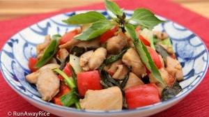 Thai Basil Chicken (Ga Xao La Que) - delicious and easy to make!   recipe from runawayrice.com