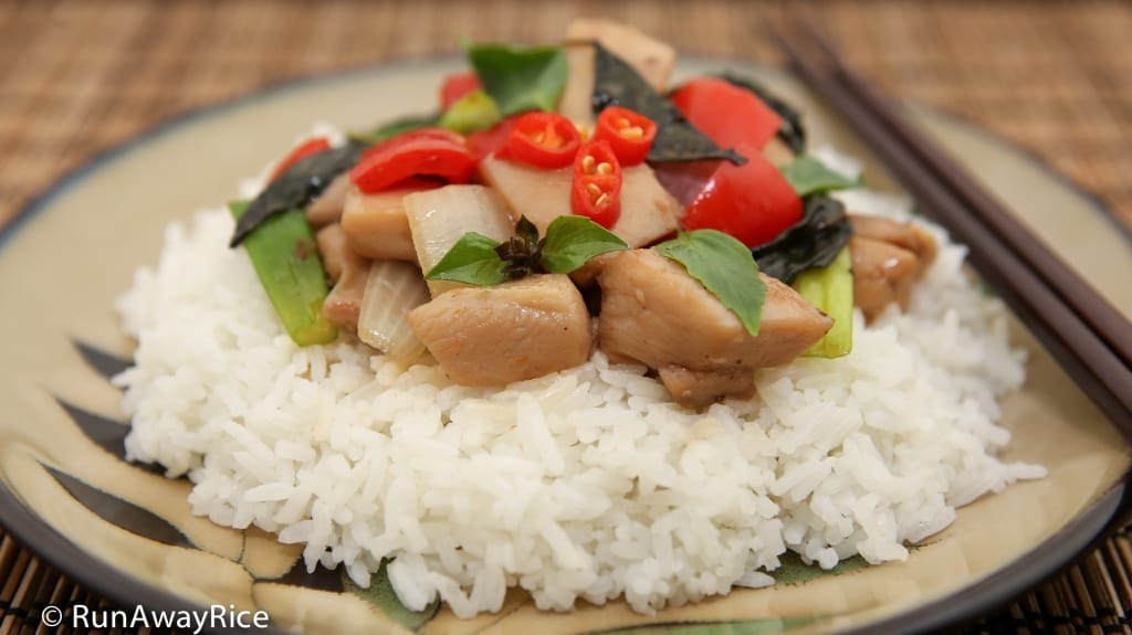 Thai Basil Chicken (Ga Xao La Que) - 30 minutes or less to make! | recipe from runawayrice.com