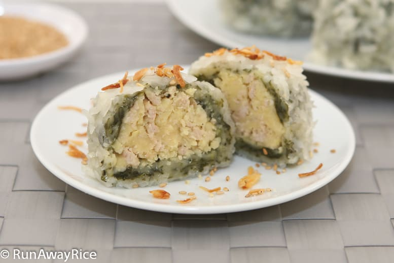 Sticky Rice and Mung Bean Dumpling (Banh Khuc) - savory and hearty Vietnamese dumplings | recipe from runawayrice.com