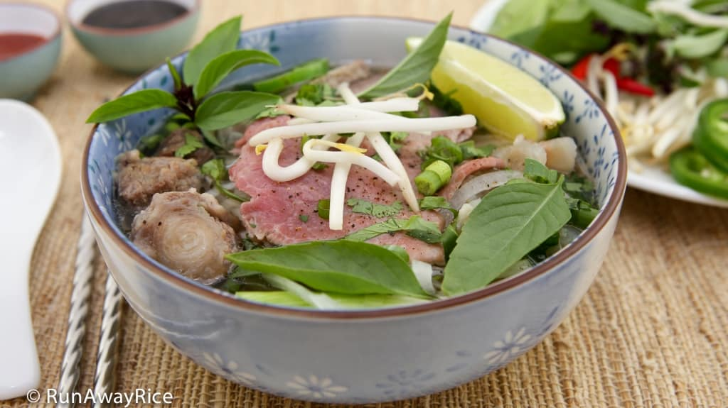 Vietnamese Beef Noodle Soup (Pho Bo) - the most popular noodle soup is so easy to make | recipe from runawayrice.com