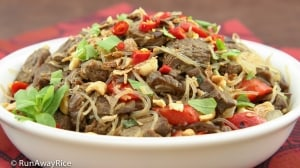 Stir-Fried Beef / Bo Xao Lan with Red Chili Peppers and Bean Thread Noodle   recipe from runawayrice.com