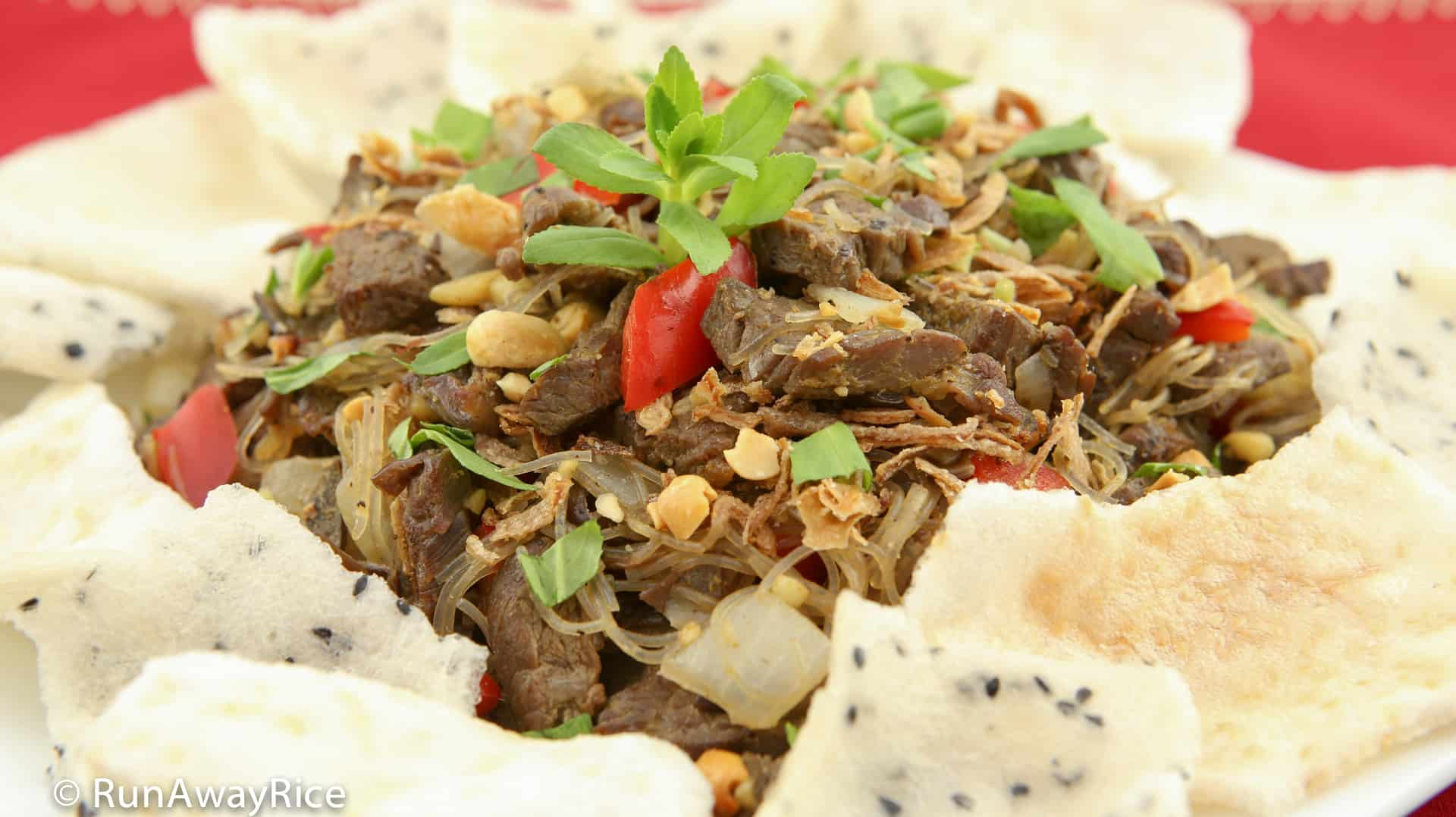 Beef Stir-Fry Appetizer / Bo Xao Lan - Stir-Fried Beef, Red Peppers, Bean Thread Noodle and Asian Spices served with Sesame Rice Crackers | recipe from runawayrice.com