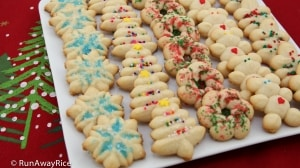 Holiday Butter Cookies (Banh Bo) - easy to make with the Oxo cookie press   recipe from runawayrice.com