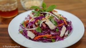 Purple Cabbage Chicken Salad (Goi Ga Bap Cai Tim) - Healthy and Easy Recipe!   recipe from runawayrice.com