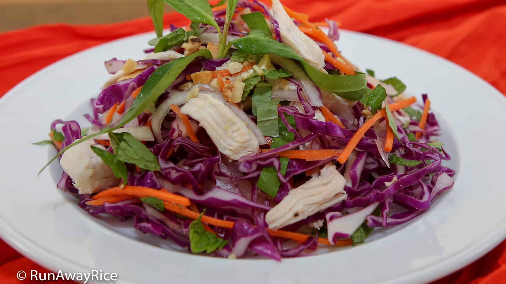 Purple Cabbage Chicken Salad (Goi Ga Bap Cai Tim) - Refreshing, Crispy Salad | recipe from runawayrice.com