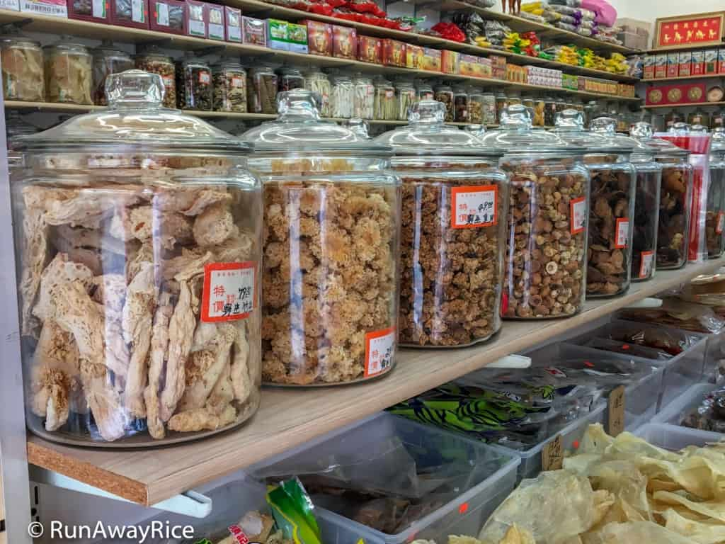 Chinatown, San Francisco - Glass Jars Filled with an Assortment of Dried Goods | runawayrice.com