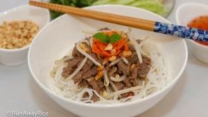 Lemongrass Beef over Rice Noodles (Bun Bo Xao) - Delicious Noodle Bowl   recipe from runawayrice.com