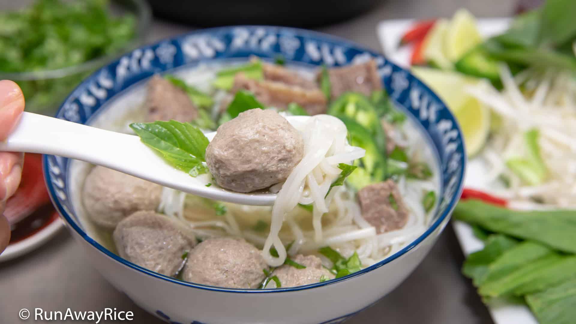 Beef Meatball Pho (Pho Bo Vien) - Instant Pot Recipe