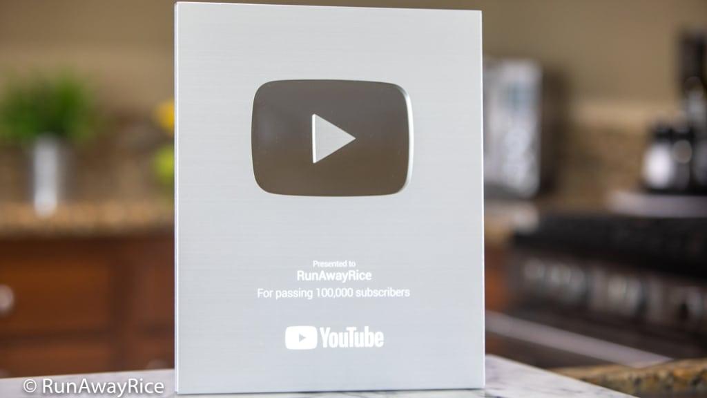 RunAwayRice YouTube Silver Creator Award | runawayrice.com